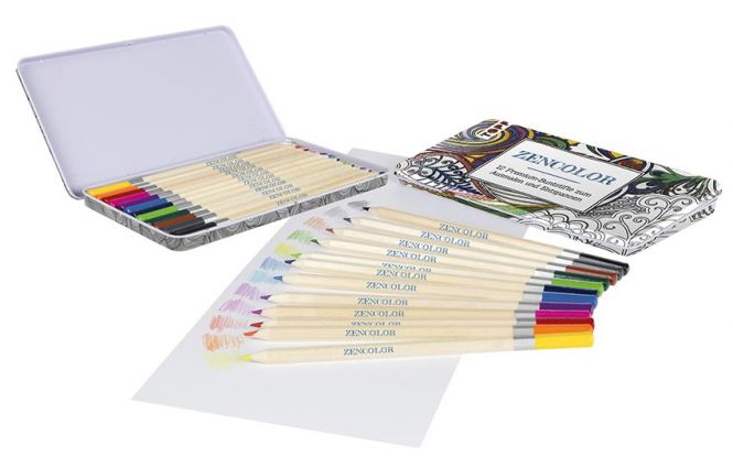 Zencolor 12 Premium-Buntstifte / 12 Premium-Buntstifte im Metalletui (18,2 x 9,9 x 1,1 cm), brillante Farben, weiche Minen
