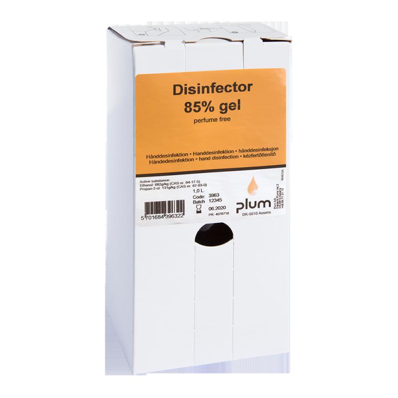 Plum Disinfector 85% - 1000 ml Bag-in-Box ( 8 St. ) wirksames viruzides Hände-Desinfektionsmittel hygienische Handdesinfektion Viren ( Viruzid ) Covid-19